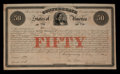 Confederate Notes:Group Lots, Confederate 8% Stock Certificate $50 February 28, 1861 Ball 11 Cr. 1A . ...