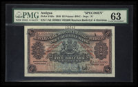 Antigua British Administration Barclays Bank Dominion, Colonial and Overseas $5 1.1.1936 Pick S105s Specimen