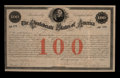 Confederate Notes:Group Lots, Confederate 8% Stock Certificate $100 February 28, 1861 Ball 12 Cr.2. ...