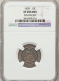 Seated Dimes, 1839 10C No Drapery--Damaged--NGC Details. XF. NGC Census: (0/189).PCGS Population (3/159). Mintage: 1,053,115. Numismedia...