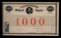 Confederate Notes:Group Lots, Confederate 8% Stock Certificate $1000 February 28, 1861 Ball 16Cr. 4. ...