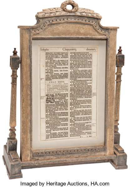 Framed Leaf from the 1611 King James Bible  London: printed