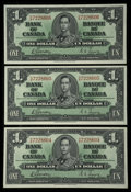 Canadian Currency: , BC-21c $1 1937 Three Consecutive Examples. ... (Total: 3 )