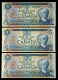 Canadian Currency: , BC-48b $5 1972. BC-53a $5 1979 Two Examples. ... (Total: 3 notes)