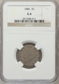 Liberty Nickels: , 1886 5C Good 4 NGC. NGC Census: (43/379). PCGS Population (64/685).Mintage: 3,330,290. Numismedia Wsl. Price for problem f...