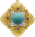 Estate Jewelry:Brooches - Pins, Turquoise, Diamond, Sapphire, Platinum, Gold Pendant-Brooch. ...