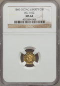 California Fractional Gold, 1860 $1 Liberty Octagonal 1 Dollar, BG-1102, R.4, MS64 NGC....