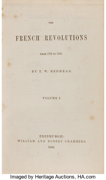 T  W  Redhead  The French Revolutions from 1789 to 1848