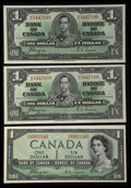 Canadian Currency: , BC-21d $1 1937 Two Consecutive Examples. BC-29a $1 Devils Face1954. ... (Total: 3 notes)