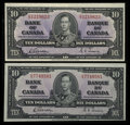 Canadian Currency: , BC-24b $10 1937 Two Examples. ... (Total: 2 notes)