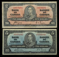 Canadian Currency: , BC-22c $2 1937. BC-23b $5 1937. ... (Total: 2 notes)