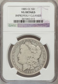Morgan Dollars, 1885-CC $1 -- Improperly Cleaned -- NGC Details. VG. NGC Census: (1/8702). PCGS Population (12/17922). Mintage: 228,000. Nu...