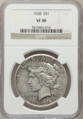 Peace Dollars: , 1928 $1 VF30 NGC. NGC Census: (17/5357). PCGS Population (20/7558).Mintage: 360,649. Numismedia Wsl. Price for problem fre...