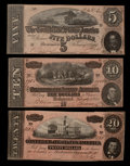 Confederate Notes:1864 Issues, T67 $20 1864. T68 $10 1864. T69 $5 1864.. ... (Total: 3 notes)