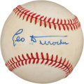 Autographs:Baseballs, Leo Durocher Single Signed Baseball (Feeney Ball). ...