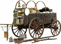 Cowboy Chuck Wagon used on a Western ranch circa 1900's the most important component of a western cattle ranch. Beautifu...