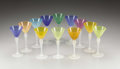 Miscellaneous, A Set of Twelve Stevens and Williams Jade Glass Clarets. . Jadeglass: . 6.5 inches high . ...