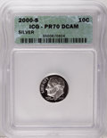 Proof Roosevelt Dimes: , 2000-S 10C Silver PR70 Deep Cameo ICG....