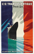 Decorative Arts, French:Other , A French Transatlantic Lithograph. . Paul Colin (1892-1985),French. Cie. Gle. Transatlantique, French Line. ColorLitho...