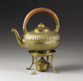 Silver Holloware, American:Hot Water Kettles , An American Brass Kettle on Stand . Gorham Manufacturing Company,Providence, Rhode Island. 1886. Brass, wood and horn. Ma...