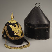 U.S. ARMY MODEL 1881 OFFICERS GRADE INFANTRY HELMET - Extra quality throughout with gold plated metal components. Deluxe...