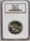 Kennedy Half Dollars: , 1986-P 50C MS66 NGC. NGC Census: (43/25). PCGS Population (173/47).Mintage: 13,107,633. Numismedia Wsl. Price: $33. (#6749...