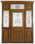 Decorative Arts, Continental, An Art Nouveau Painted Wood and Etched Flashed Glass Entryway. Unknown maker, possibly Continental. Circa 1890-1920. Paint...