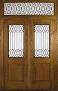 Furniture, A Pair of Oak French Doors with Leaded Glazing and Transom. Unknown maker. Circa 1900-1930. Oak, lead, glass. Unmarked. 10...