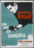 "Movie Posters:Crime, The Big Shot (Warner Brothers, R-1962). Swedish One Sheet (27.5"" X39.5"") Tri-Folded. Crime. Starring Humphrey Bogart, Irene..."