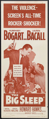 "The Big Sleep (Warner Brothers, R-1954). Insert (14"" X 36""). Film Noir. Starring Humphrey Bogart, Lauren Bacal..."