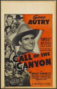 """Call of the Canyon (Republic, 1942). Window Card (14"""" X 22""""). Western. Starring Gene Autry, Smiley Burnette, T..."""