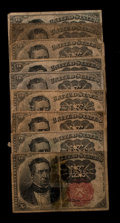 Fractional Currency:Fifth Issue, A Group of Nine 10¢ Fifth Issue Notes Good-Fine.. ... (Total: 9notes)