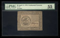 Colonial Notes:Continental Congress Issues, Continental Currency April 11, 1778 $5 PMG About Uncirculated 55.. ...