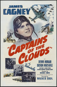 "Captains of the Clouds (Warner Brothers, 1942). One Sheet (27"" X 41""). War. Starring James Cagney, Dennis Morg..."