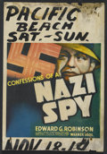 "Movie Posters:Drama, Confessions of a Nazi Spy (Warner Brothers, 1939). Window Card (14""X 20""). War. Starring Edward G. Robinson, Francis Ledere..."