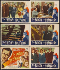 "The Falcon in Hollywood (RKO, 1944). Title Lobby Card (11"" X 14"") and Lobby Cards (5) (11"" X 14""). M..."