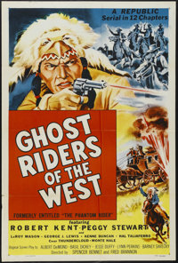 "Ghost Riders of the West (Republic, 1954). One Sheet (27"" X 41""). Western Serial. Starring Robert Kent, Peggy..."