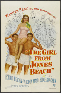 "The Girl From Jones Beach (Warner Brothers, 1949). One Sheet (27"" X 41""). Comedy. Starring Ronald Reagan, Virg..."