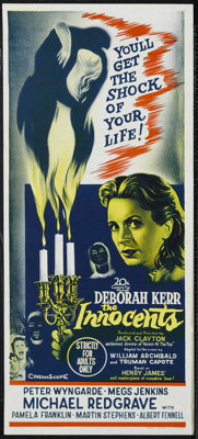 "The Innocents (20th Century Fox, 1962). Australian Daybill (13"" X 30""). Horror. Starring Deborah Kerr, Peter W..."
