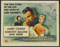 "Movie Posters:Drama, Man of a Thousand Faces (Universal International, 1957). Half Sheet(22"" X 28"") Style A. Biographical Drama. Starring James ..."
