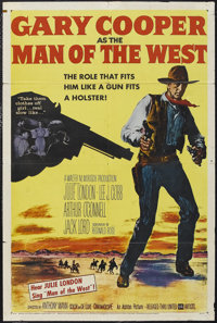"""Man of the West (United Artists, 1958). One Sheet (27"""" X 41""""). Western. Starring Gary Cooper, Julie London, Le..."""