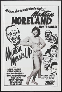 "Mantan Messes Up (Toddy Pictures, 1946). One Sheet (27"" X 41""). Musical Comedy. Starring Mantan Moreland, Lena..."