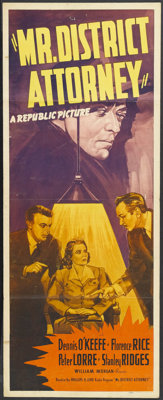 """Mr. District Attorney (Republic, 1941). Insert (14"""" X 36""""). Crime. Starring Dennis O'Keefe, Florence Rice, Pet..."""