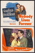 "Movie Posters:Film Noir, Nobody Lives Forever (Warner Brothers, 1946). Title Lobby Card (11""X 14"") and Lobby Card (11"" X 14""). Film Noir. Starring J... (Total:2 Item)"
