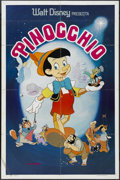 "Movie Posters:Animated, Pinocchio (Buena Vista, R-1970s). Spanish Language One Sheet (27"" X 41""). Animated. Starring the voices of Dick Jones and Cl..."
