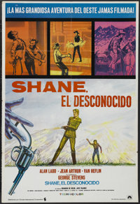 "Shane (Paramount, R-1960s). Spanish Language One Sheet (27"" X 41""). Western. Starring Alan Ladd, Jean Arthur..."