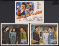 """Somewhere in the Night (20th Century Fox, 1946). Title Lobby Card (11"""" X 14"""") and Lobby Cards (2) (11"""" X..."""