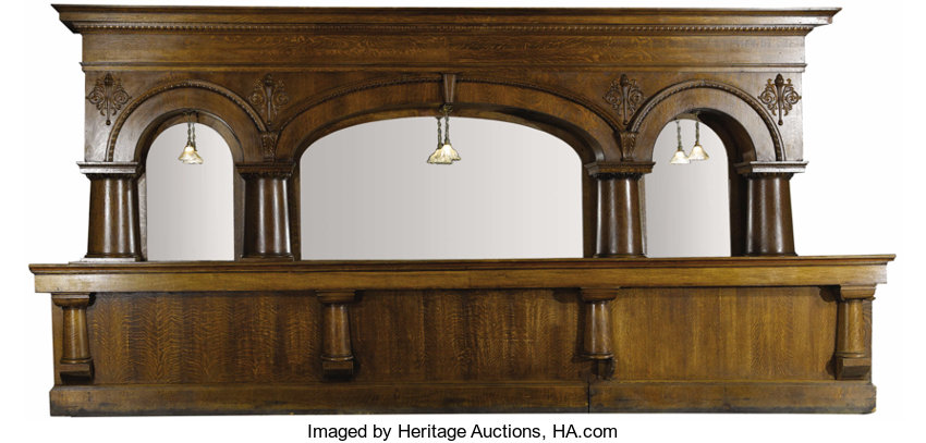 an american oak triple arch back bar attributed lot 33021
