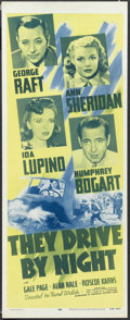 "Movie Posters:Drama, They Drive By Night (Warner Brothers, R-1956). Insert (14"" X 36"").Thriller. Starring George Raft, Ann Sheridan, Ida Lupino,..."