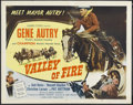 "Movie Posters:Western, Valley of Fire (Columbia, 1951). Half Sheet (22"" X 28""). Western.Starring Gene Autry, Champion, Gail Davis, Russell Hayden,..."
